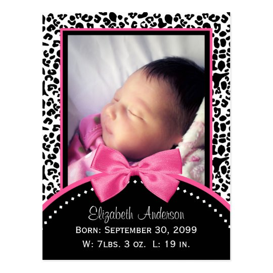 Chic Leopard Print Baby Photo Birth Announcement Postcard