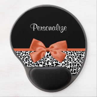 Chic Leopard Print Burnt Orange Bow With Name Gel Mouse Mat