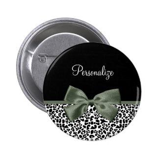 Chic Leopard Print Dark Green Bow andName 6 Cm Round Badge