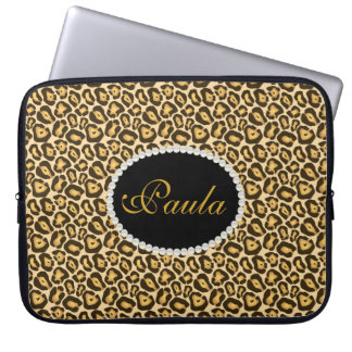 Chic Leopard Print Laptop Sleeve With Monogram