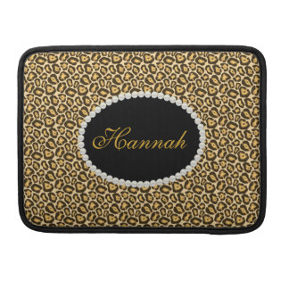 Chic Leopard  Print Monogram Macbook Sleeve
