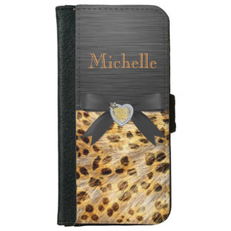 Chic Leopard print on black Phone 5/5S Wallet Case