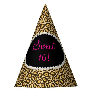 Chic Leopard Print Pearls Sweet 16 Party Hats