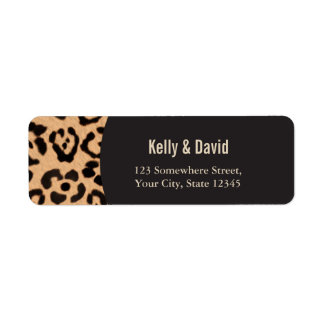 Chic Leopard Print Wedding Return Address Return Address Label