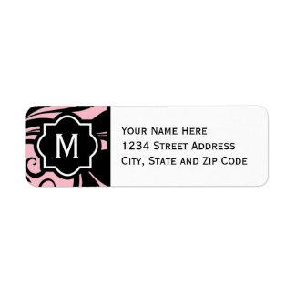 Chic Light Pink Black and White Flourish Monogram Return Address Label
