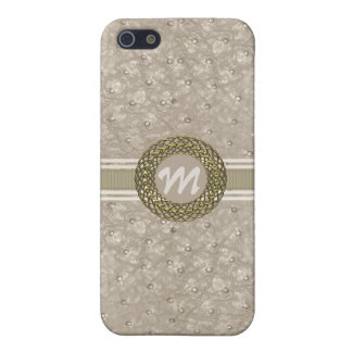 Chic Light Tan Ostrich Leather Look Monogram iPhone 5/5S Cases