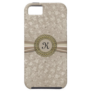 Chic Light Tan Ostrich Leather Look Monogram Tough iPhone 5 Case