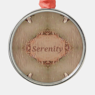Chic Light Tan Peach Modern Serenity Metal Ornament