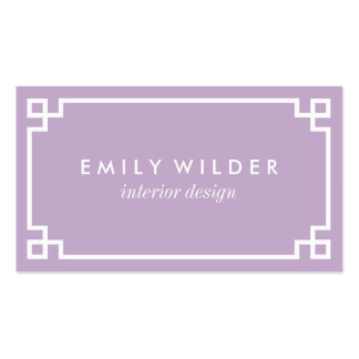 Chic Lilac Purple and White Greek Key Pack Of Standard Business Cards
