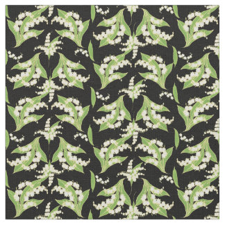 Chic Lilies-of-the-Valley on Black Floral Fabric
