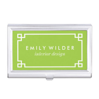 Chic Lime Green and White Greek Key Business Card Holder