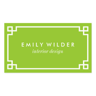 Chic Lime Green and White Greek Key Pack Of Standard Business Cards