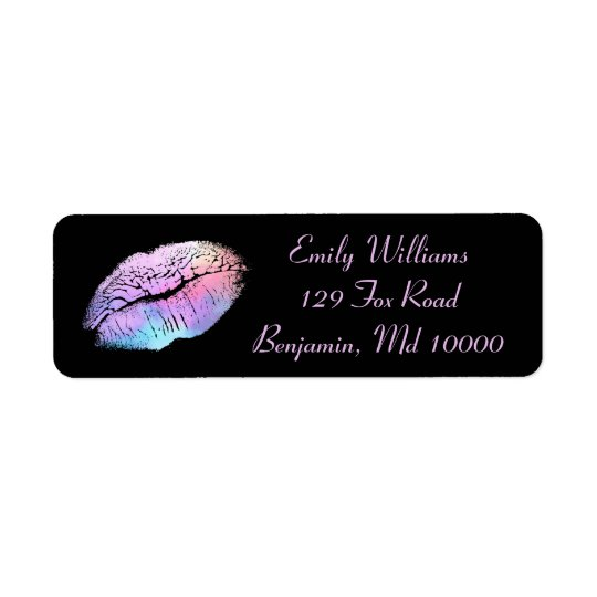 Chic Lips Cotton Candy Return Address Label