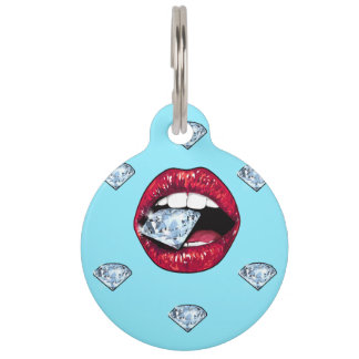 Chic Lips Diamond Girly Pet ID Tag