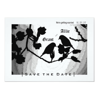 Chic Love Birds Silhouettes Save the Date Invites