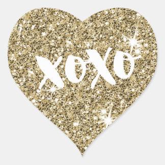 CHIC LOVE XOXO HEART modern faux gold glitter Heart Sticker