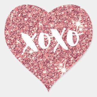 CHIC LOVE XOXO HEART modern faux pink glitter Heart Sticker