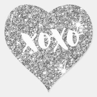 CHIC LOVE XOXO HEART modern faux silver glitter Heart Sticker