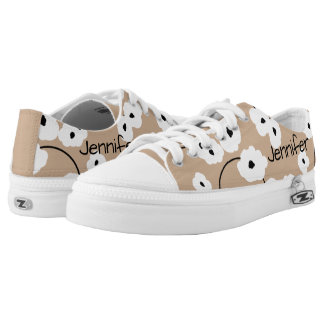 CHIC LOW TOP ZIPZ_MOD, GIRLY WHITE & BLACK POPPIES PRINTED SHOES