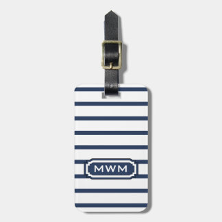 CHIC LUGGAGE/BAG TAG_436 NAVY/WHITE STRIPES LUGGAGE TAG
