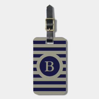 CHIC LUGGAGE/BAG TAG_607 TAUPE/NAVY STRIPES BAG TAG
