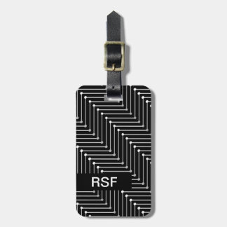 CHIC LUGGAGE/BAG TAG_GREY/WHITE ZIGZAG PATTERN LUGGAGE TAG
