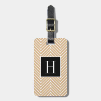 CHIC LUGGAGE/BAG TAG_MODERN BLACK/HAZELNUT ZIGZAG LUGGAGE TAG