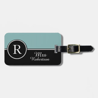 "CHIC LUGGAGE/BAG TAG_MODERN ""Mrs"" SEAFOAM/BLACK Luggage Tag"
