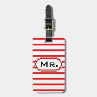 "CHIC LUGGAGE/BAG TAG_""Mr."" RED/WHITE STRIPES Luggage Tag"