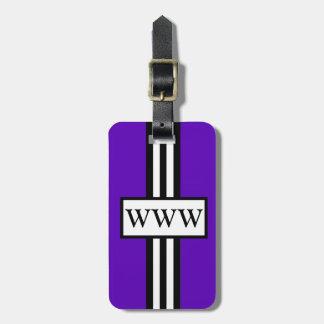 CHIC LUGGAGE/GIFT TAG_194 PURP/WHITE/BLACK STRIPES LUGGAGE TAG