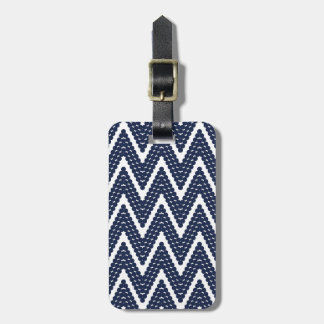 CHIC LUGGAGE/GIFT TAG_24 NAVY BLUE  ZIGZAG DOTS LUGGAGE TAG