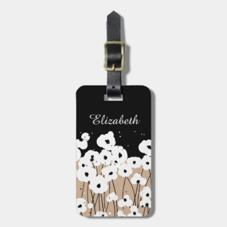 CHIC LUGGAGE TAG_MOD BLACK & WHITE POPPIES LUGGAGE TAG
