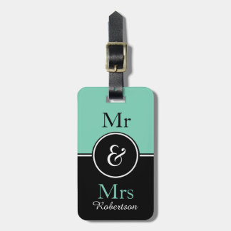 "CHIC LUGGAGE TAG_MODERN ""Mr & Mrs"" MINT/BLACK Luggage Tag"