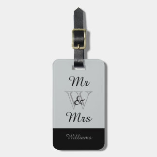 "CHIC LUGGAGE TAG_""Mr & Mrs"" IN GRAY/BLACK Luggage Tag"