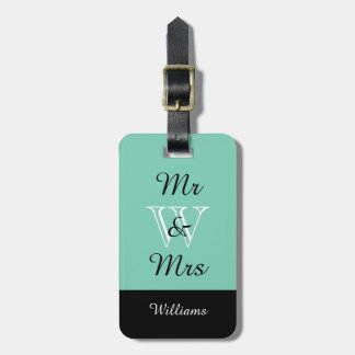 "CHIC LUGGAGE TAG_""Mr & Mrs"" IN MINT/BLACK/WHITE Travel Bag Tag"