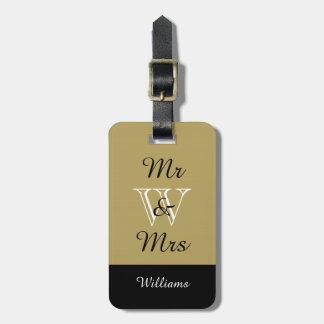 """CHIC LUGGAGE TAG_""""Mr & Mrs"""" KHAKI/BLACK/WHITE Luggage Tag"""