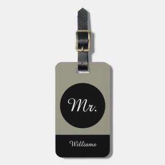 "CHIC LUGGAGE TAG_""Mr."" TAUPE/BLACK/WHITE Luggage Tag"
