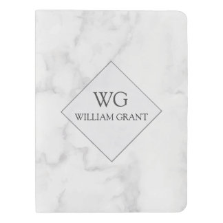 Chic Luxe Monogram On White Marble Extra Large Moleskine Notebook