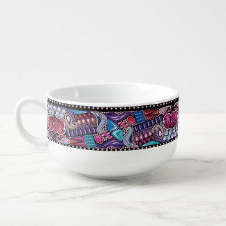 Chic luxury jewelry bright colorful pattern soup mug