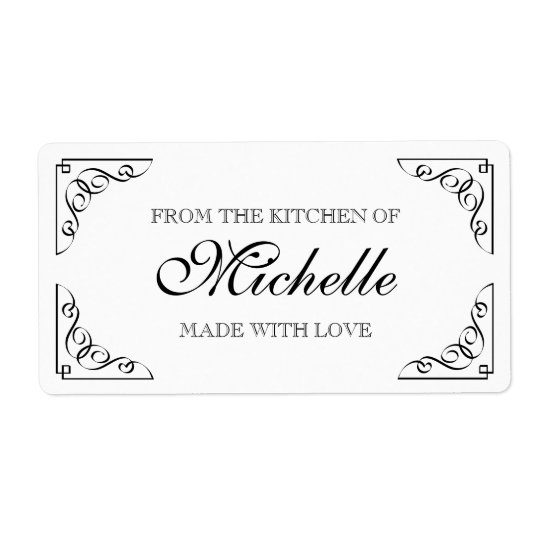 Chic Made with love From the kitchen of food label Shipping Label
