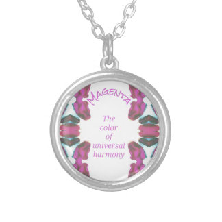 Chic 'Magenta Color of Universal Harmony Artistic Silver Plated Necklace