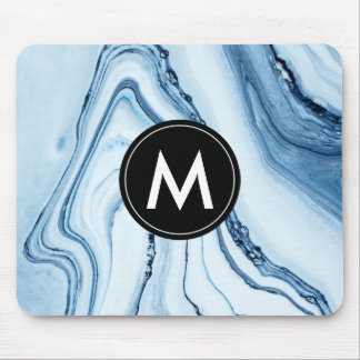 Chic Marble Monogram Mouse Pad