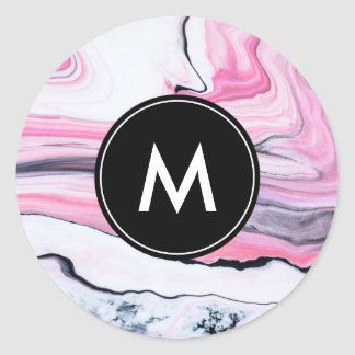 Chic Marble Monogram Stickers