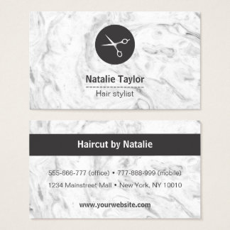 Chic Marble Texture Hair Stylist Business Cards