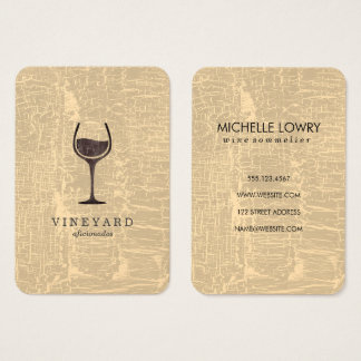 Chic Marbled Texture with Wine Glass Business Card