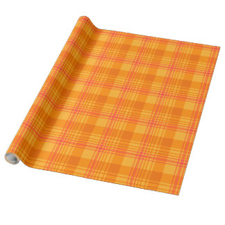 Chic Marigold Medley Orange Plaid Wrapping Paper
