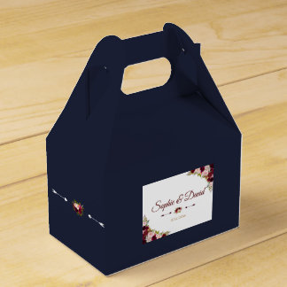 Chic Marsala Floral Fall Navy Blue Wedding Favour Box