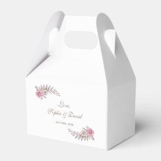 Chic Marsala Maroon Floral Watercolor Wedding Favour Box