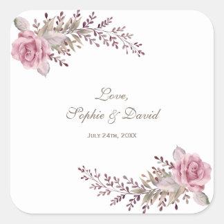 Chic Marsala Maroon Floral Watercolor Wedding Square Sticker