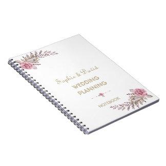 Chic Marsala Maroon Floral Wedding Planner Notebook